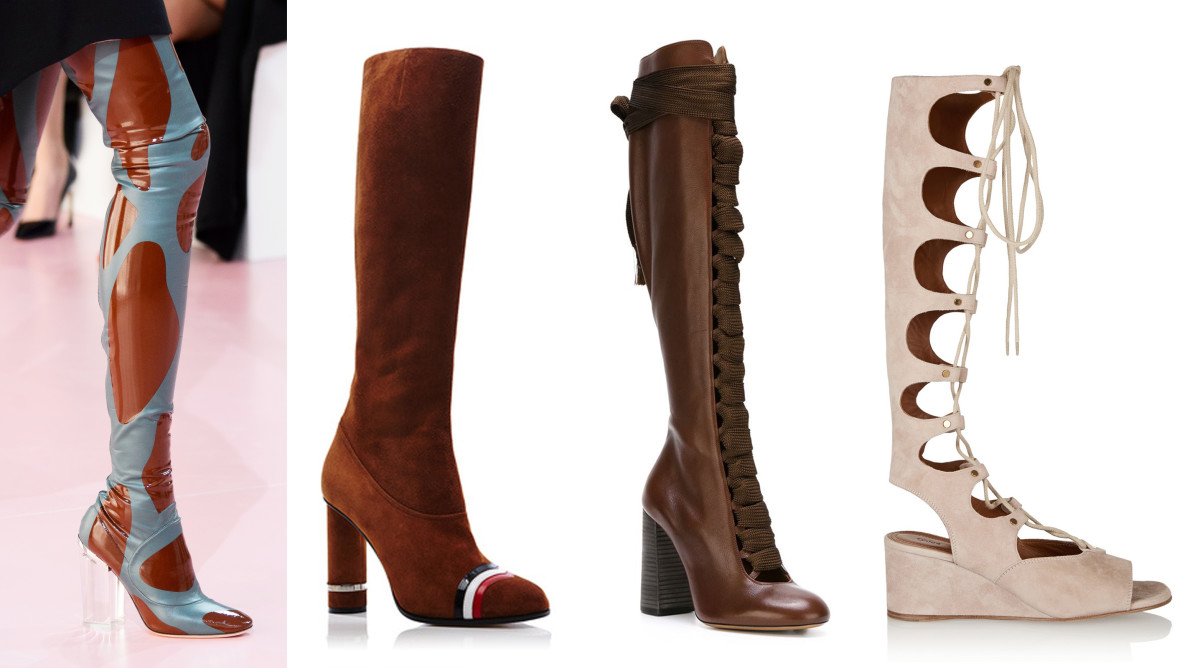 Photos: Imaxtree; Loewe column ring boot, $1,550, available at Moda Operandi; Chloe lace up boots, $1,320.81, availabe at Farfetch; Chloe lace up sandals, $1,450, available at Net-a-Porter.
