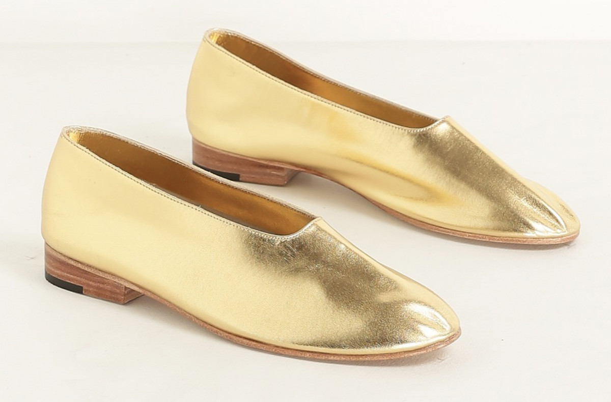 Martiniano gold leather glove flats, $414, available at Totokaelo.