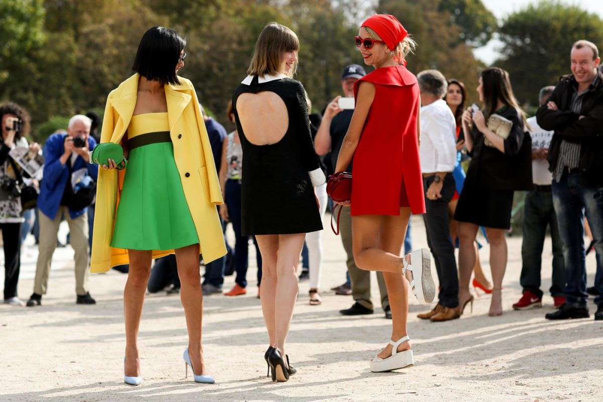 Outside the Paris Fashion Week spring 2015 shows. Photo: Imaxtree