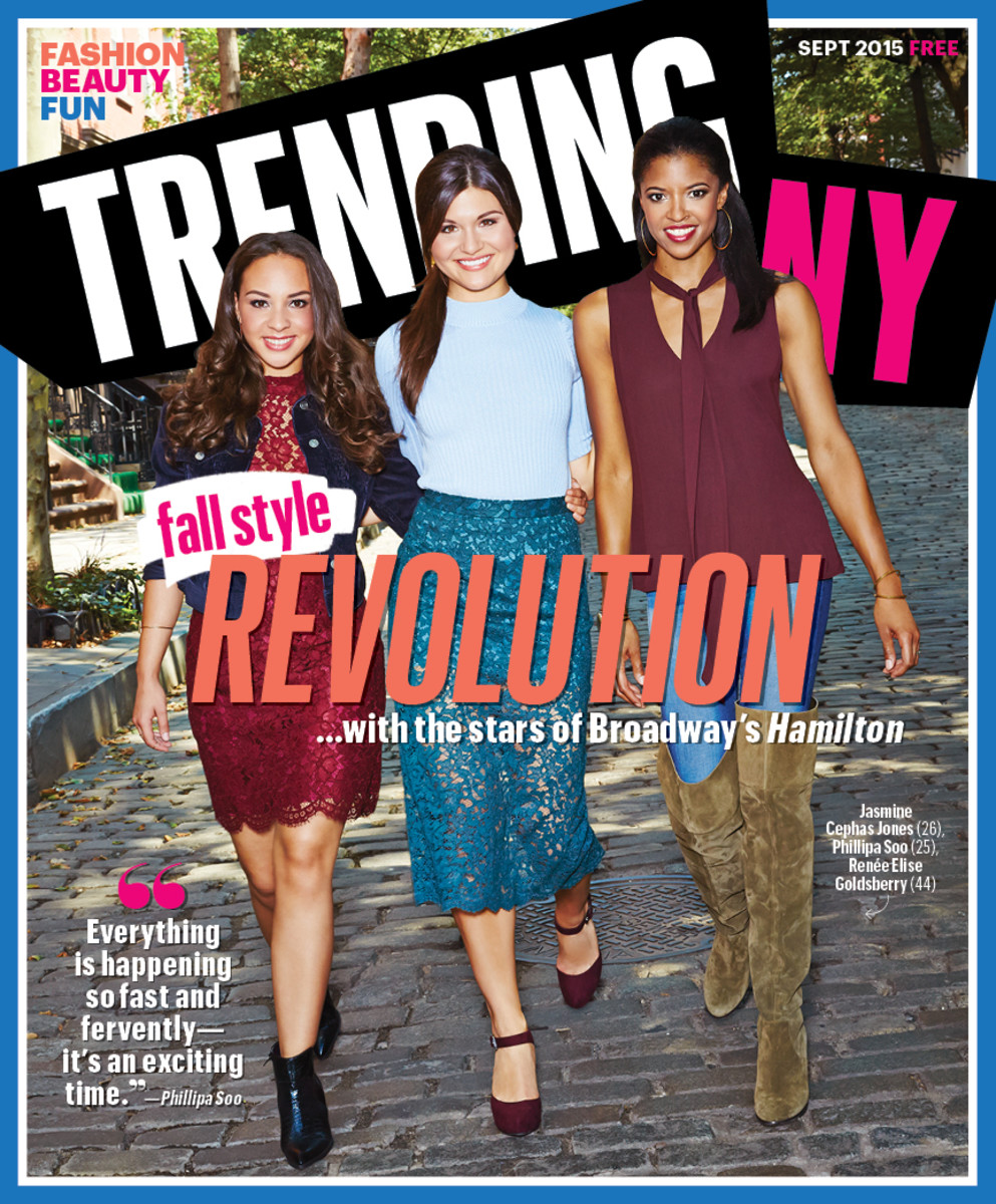 """Hamilton"" stars Jasmine Cephas Jones, Phillipa Soo and Renee Elise Goldsberry on the cover of TrendingNY's September issue, out Tuesday. Photo: TrendingNY"