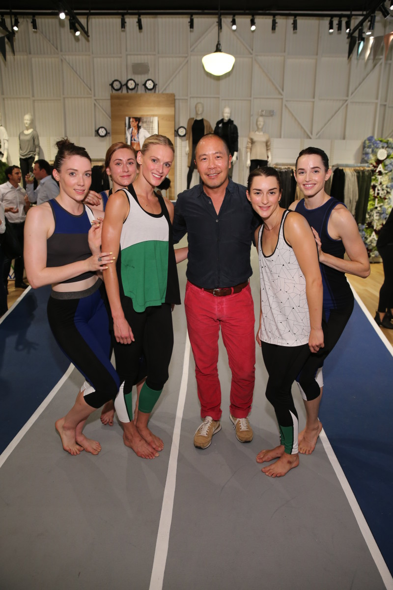 Derek Lam with dancers at the collection's launch event in Soho. Photo: Athleta