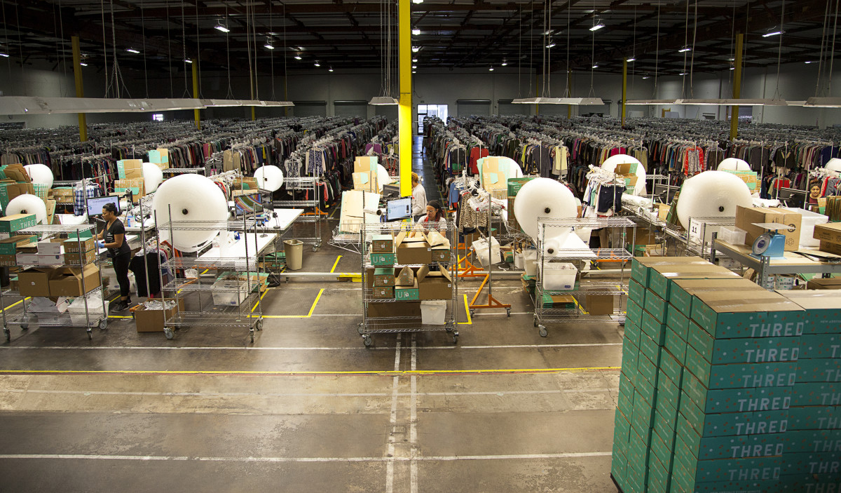 ThredUp's distribution center in San Leandro, Calif. Photo: ThredUp