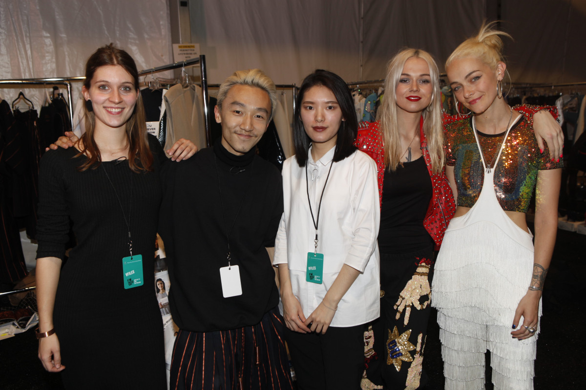 Andrea Jiapei Li, center, with fellow VFiles designers. Photo: Thos Robinson/Getty Images