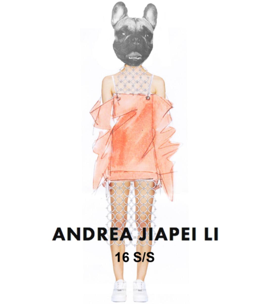 A sneak peek at Andrea Jiapei Li's spring 2016 collection. Photo: Andrea Jiapei Li
