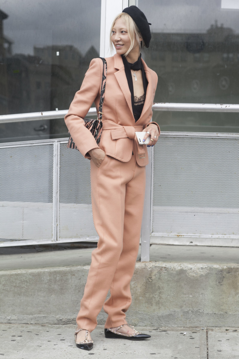 Soo Joo Park in Jason Wu suit. Photo: Emily Malan/Fashionista