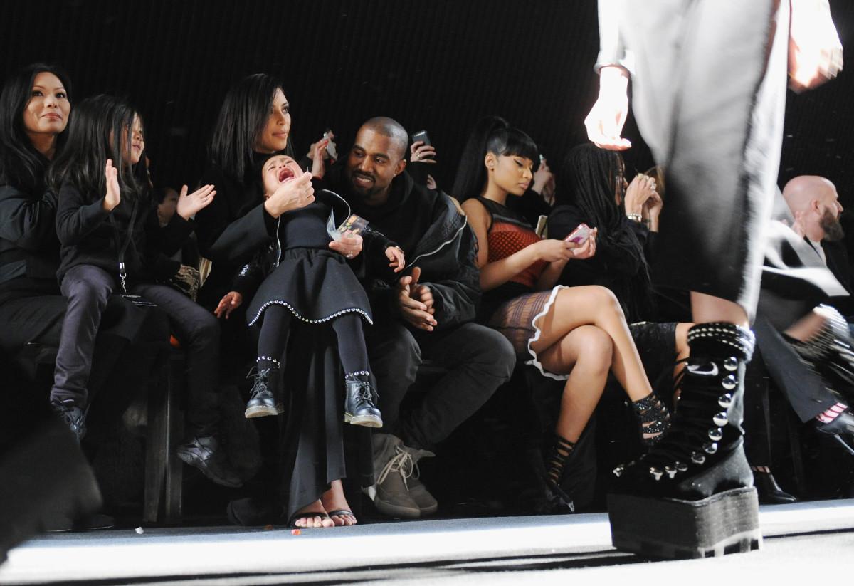Alia Wang, Aimie Wang, Kim Kardashian, North West, Kanye West and Nicki Minaj at Alexander Wang's fall 2015 show in February. Photo: Craig Barritt/Getty Images