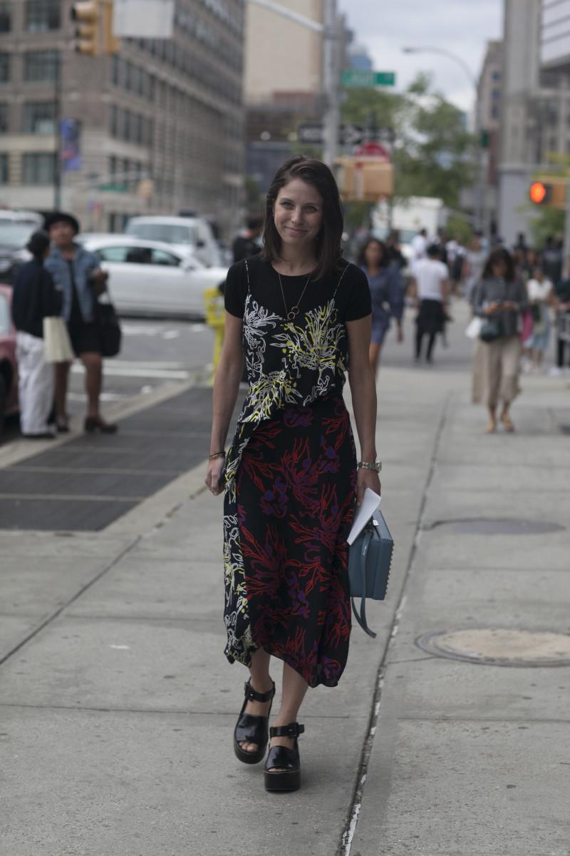 Elle.com's Ruthie Friedlander in Tanya Taylor.Photo: Emily Malan/Fashionista