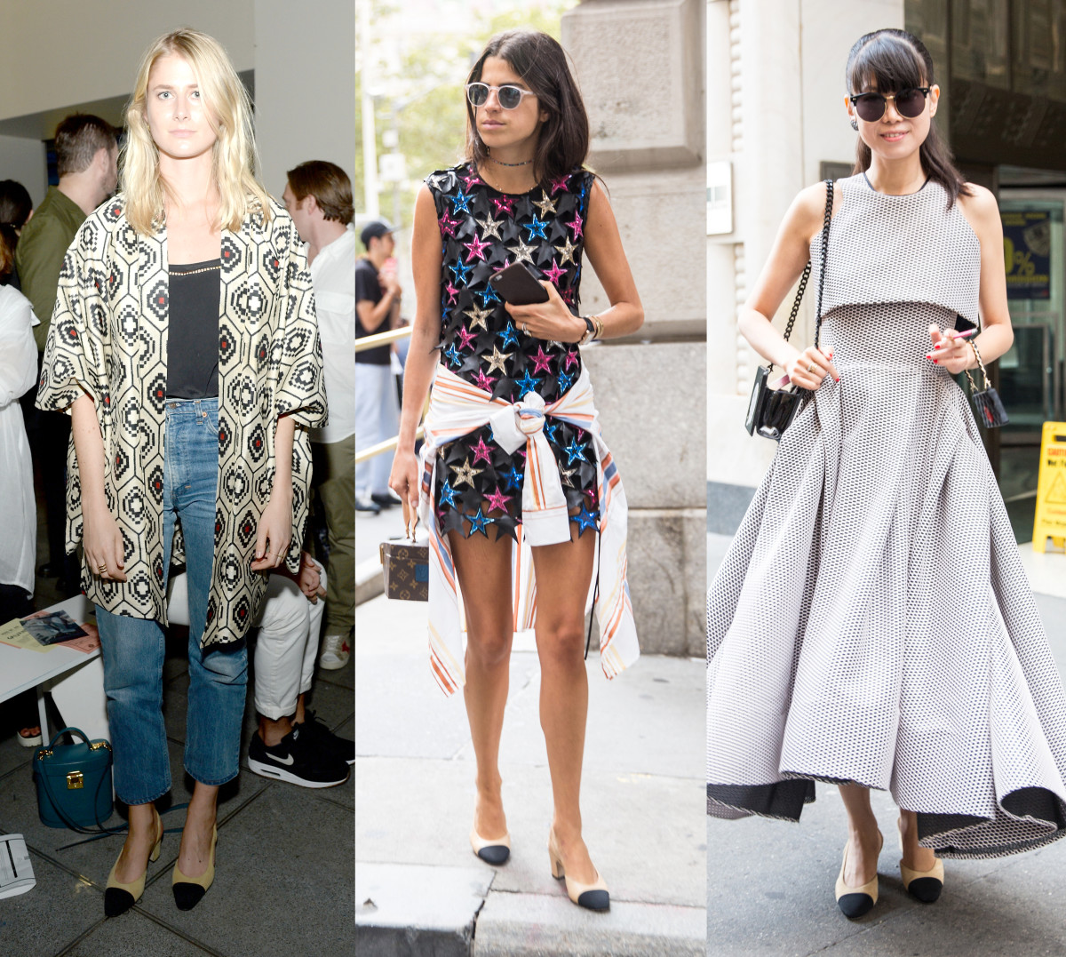 WSJ. Magazine's Laura Stoloff, The Man Repeller's Leandra Medine and a show-goer on Sunday. Photos: Ben Gabbe/Getty Images (left) and KDV/Fashionista (center and right)