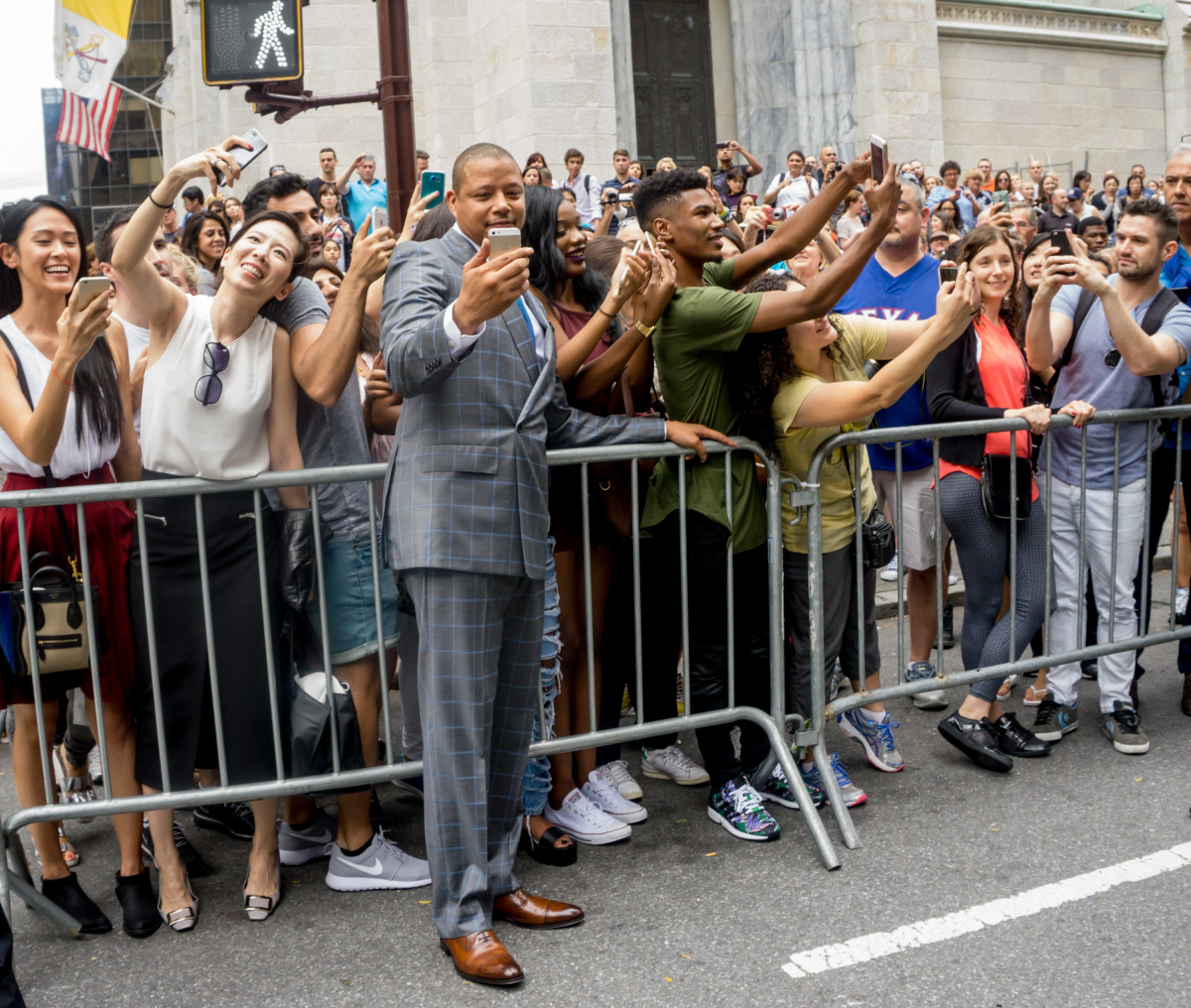 Lucious, er, Howard takes a selfie with the crowd. Photo: Photo by Steven Henry/Getty Images