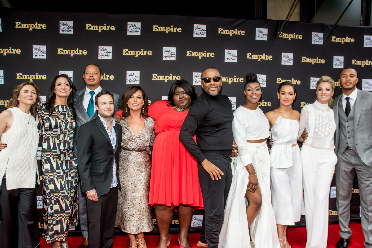 Executive producer Ilene Chaiken, executive producer Francie Calfo, actor Terrence Howard, executive producer Danny Strong, executive producer Sanaa Hamri, actress Gabourey Sidibe, executive producer Lee Daniels, actress Ta'Rhonda Jones, actress Grace Gealey, actress Kaitlin Doubleday and actor Trai Byers attend the Saks Fifth Avenue Empire Fashion Week event on Sept. 12 in New York City. Photo: Steven Henry/Getty Images