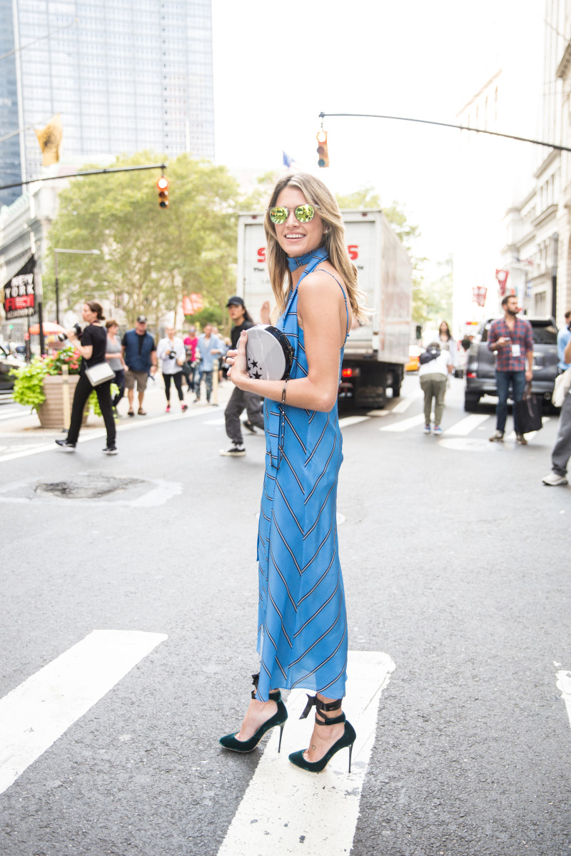 Blogger Helena Bordon in a Cris Barros dress, Edie Parker clutch and Jimmy Choo shoes. Photo: KDV/Fashionista