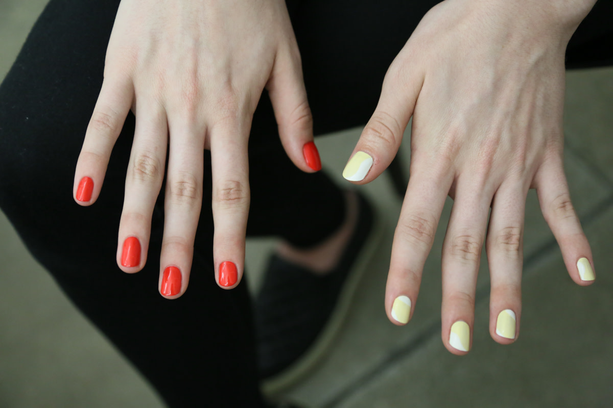 Potential looks at the Prabal Gurung nail test. The look on the right, featuring Sally Hansen Complete Salon Manicure in Mum's the Word and Let's Snow won. Photo: Nina Frazier Hansen/Fashionista