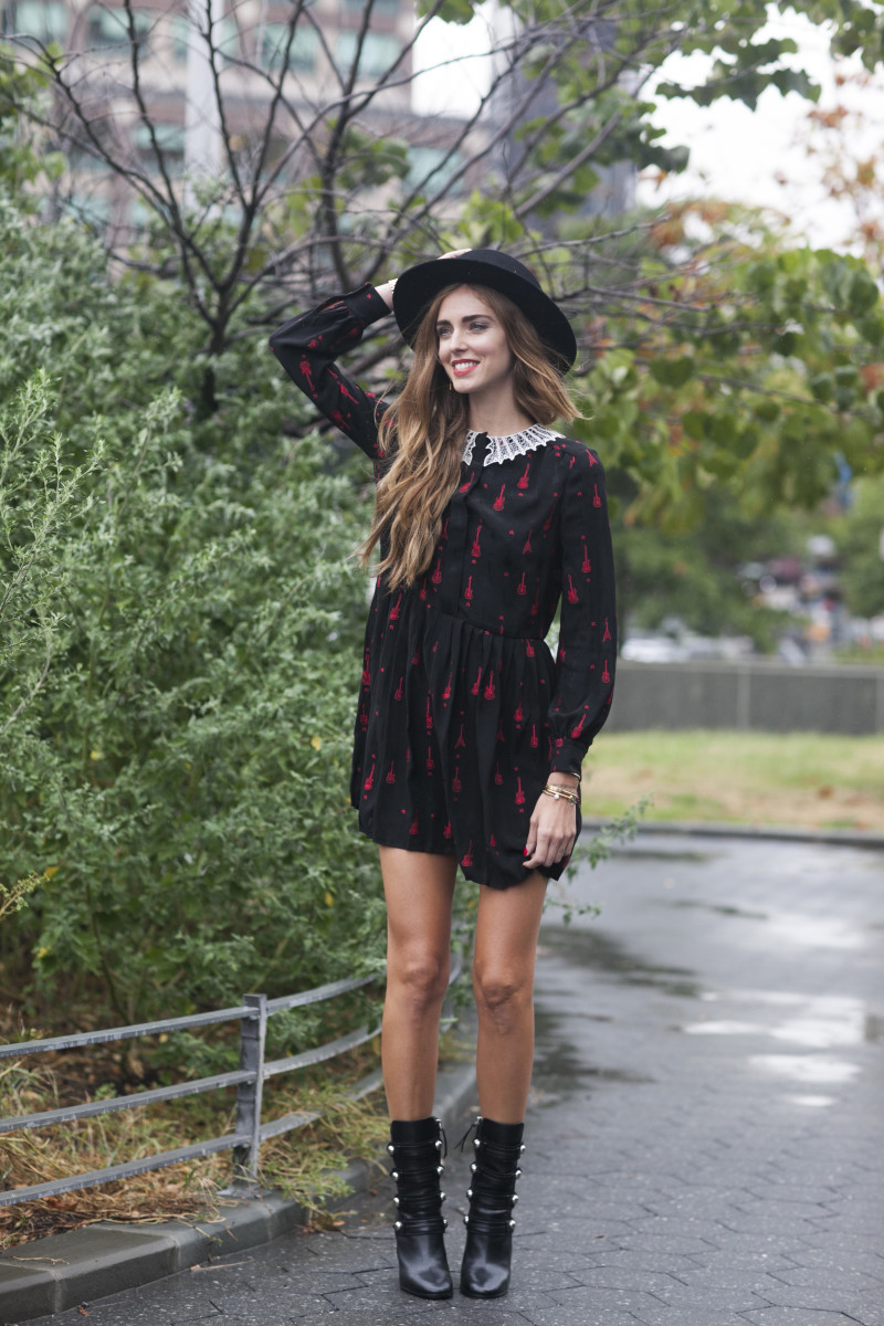 Blogger Chiara Ferragni in Saint Laurent. Photo: Emily Malan/Fashionista