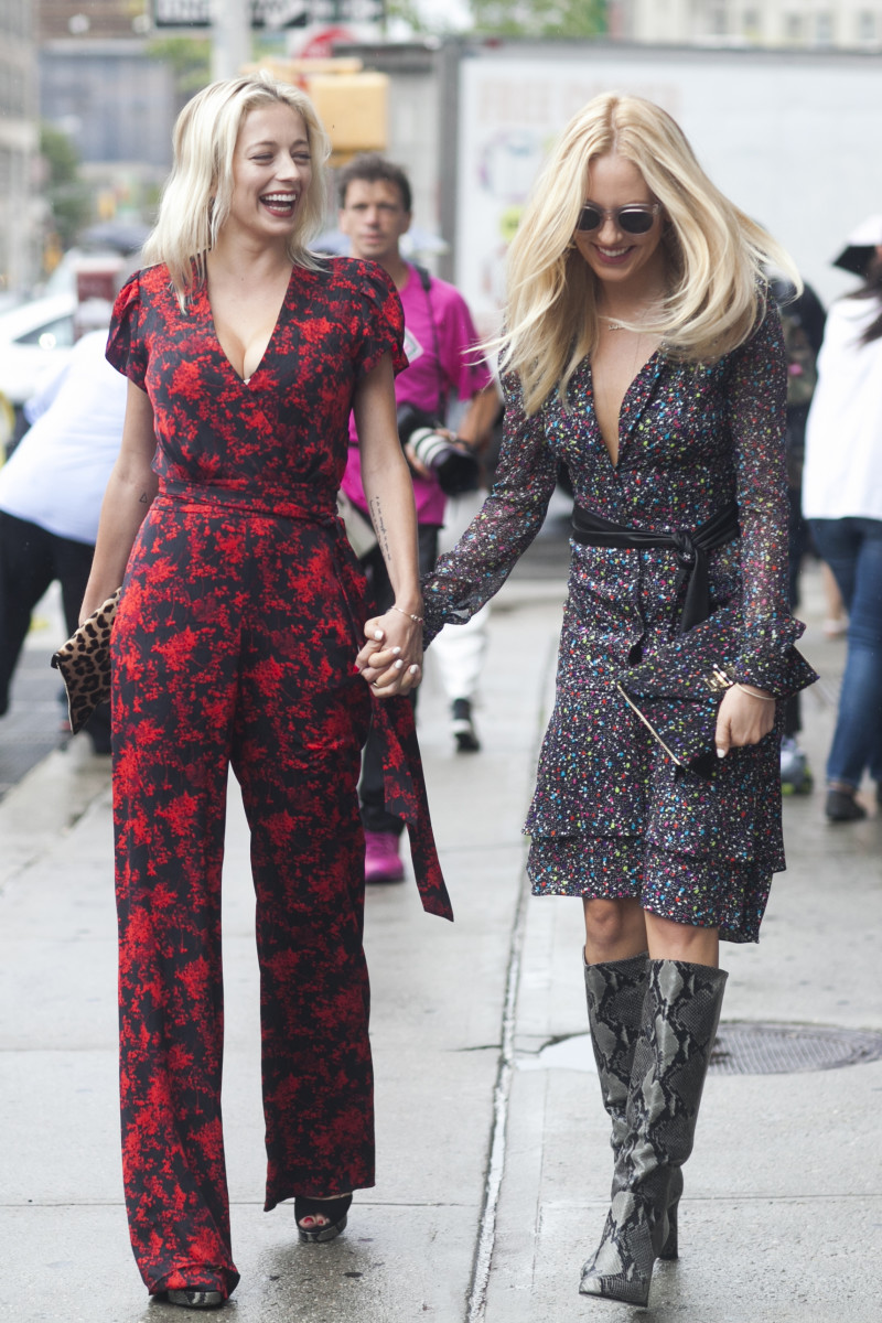 Caroline Vreeland and blogger Shea Marie in DVF. Photo: Emily Malan/Fashionista