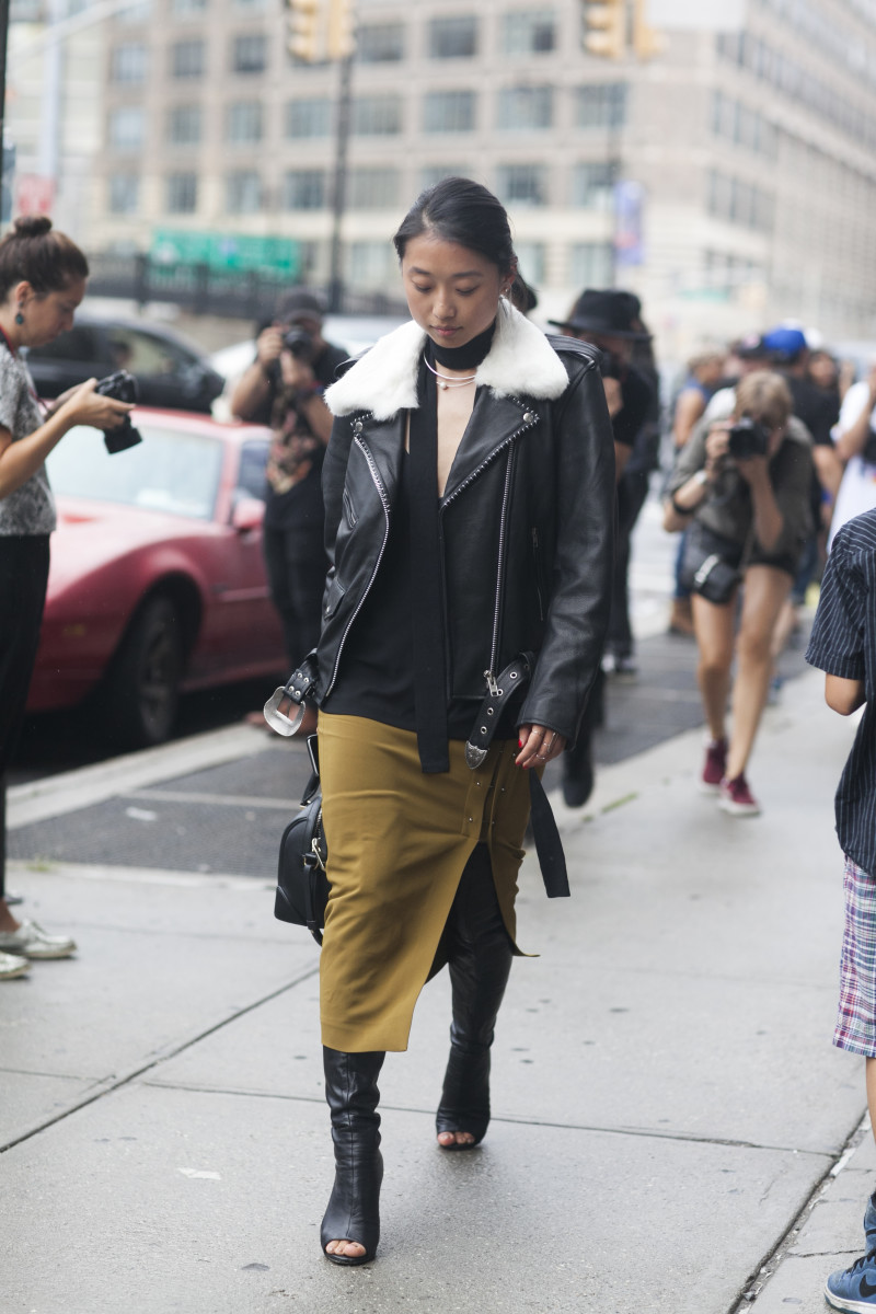 Blogger Margaret Zhang in Understated Leather jacket, Dion Lee top, ALC skirt, Tony Bianco shoes and Givenchy bag. Photo: Emily Malan/Fashionista