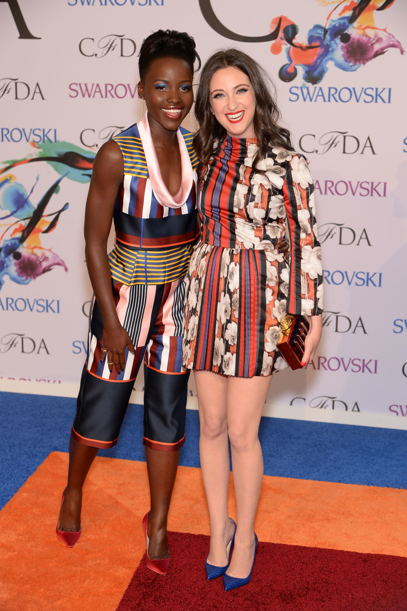 Lupita Nyong'o and Micaela Erlanger. Photo: Dimitrios Kambouris/Getty Images