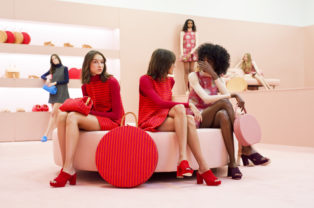Models lounge in Mansur Gavriel bags and shoes. Photo: Mansur Gavriel