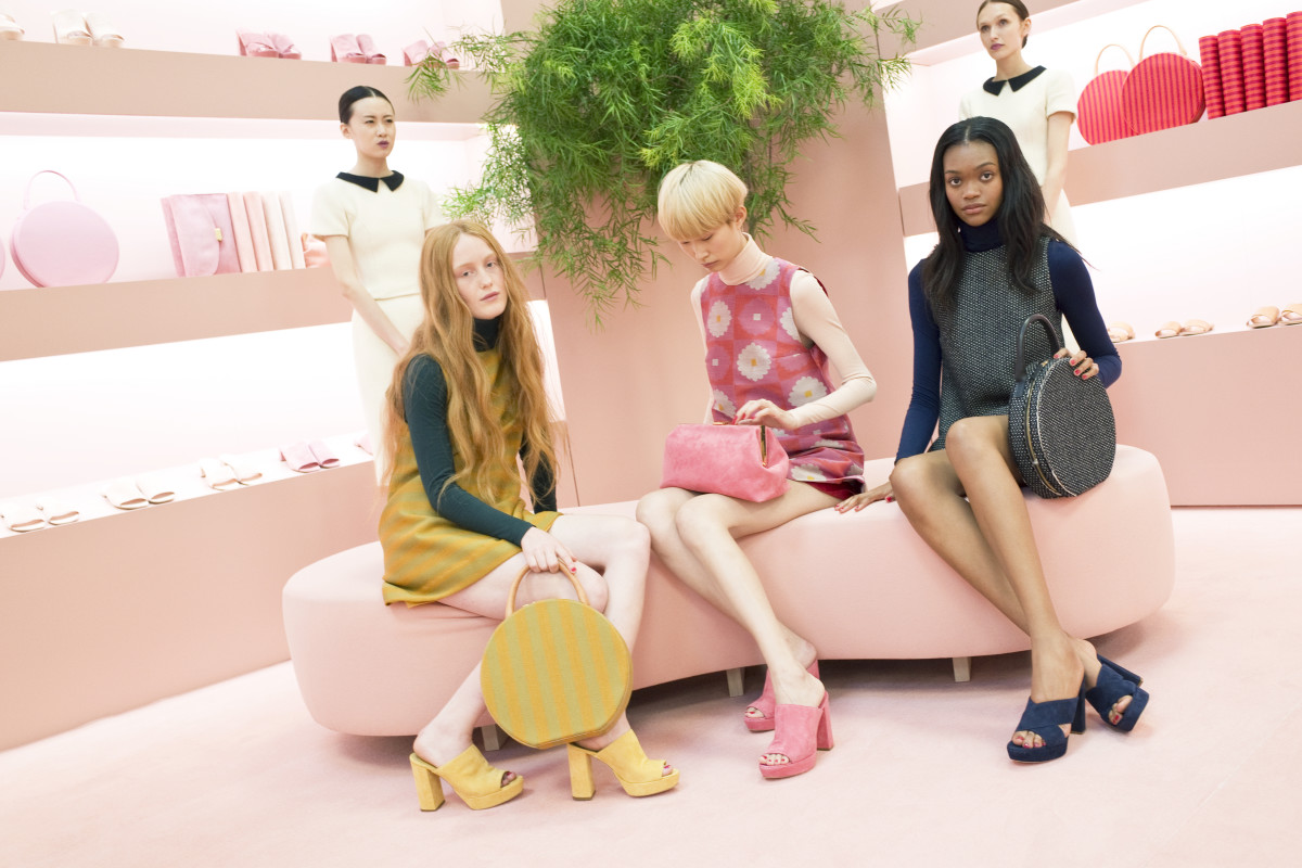 "Models as ""shop girls"" and ""shoppers"" with Mansur Gavriel bags and shoes. Photo: Mansur Gavriel"