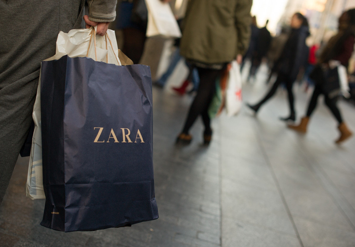 A Zara shopper in Madrid. Photo: Denis Doyle/Getty Images