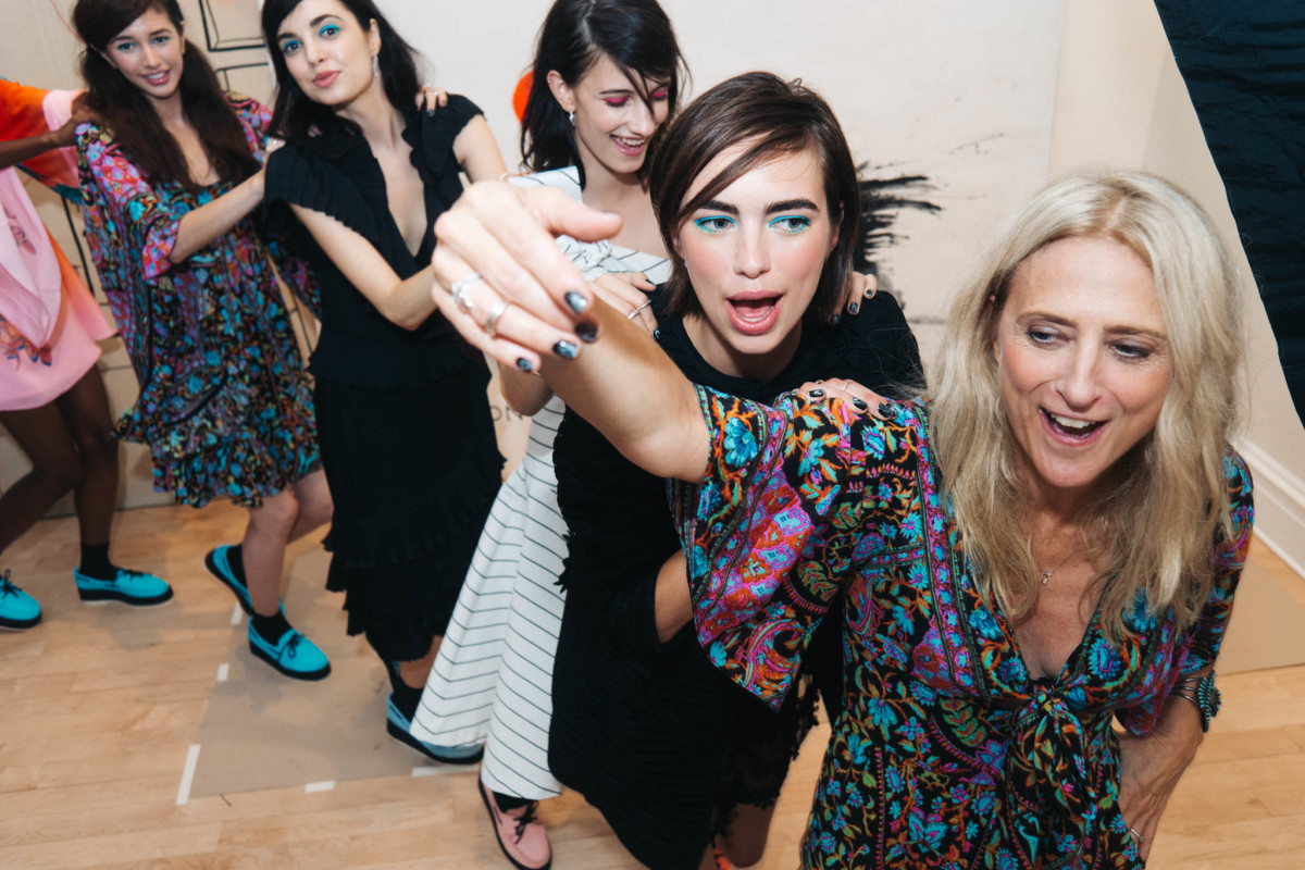 Designer Nanette Lepore dancing with models at her spring 2016 presentation party. Photo: Nanette Lepore