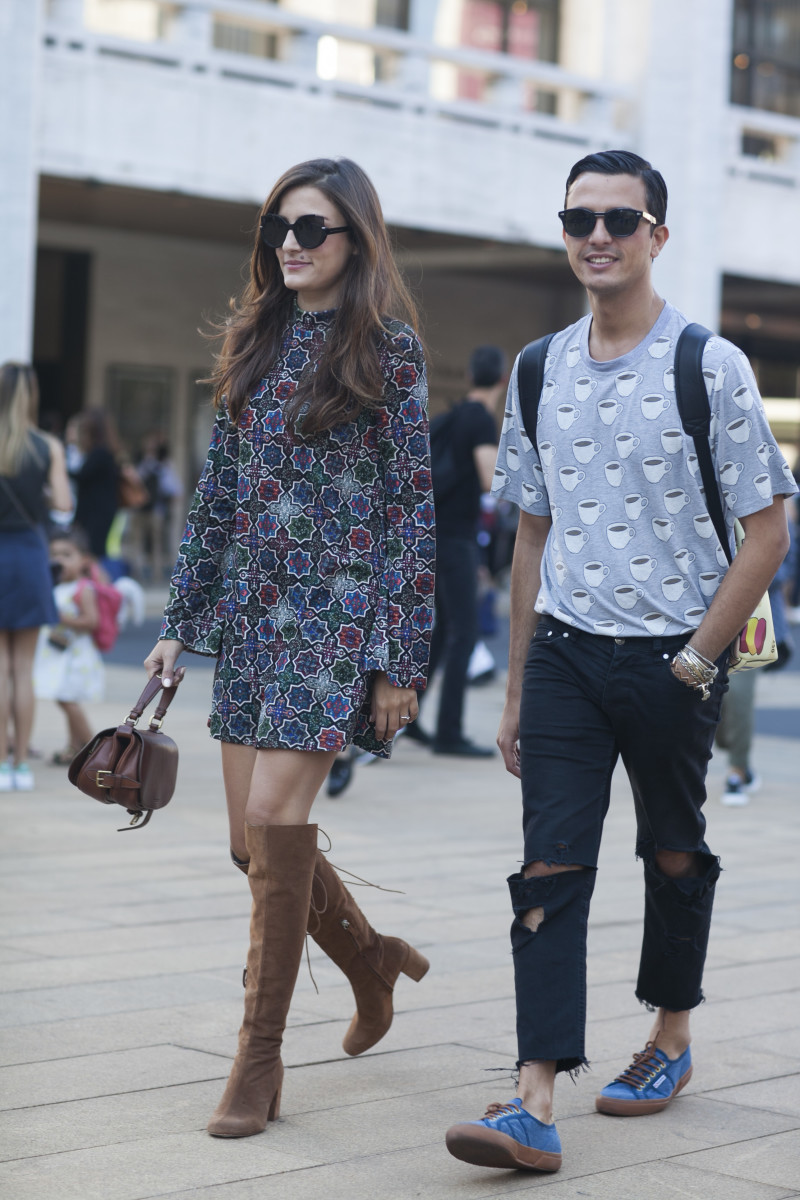 Blogger Eleanora Carisi and Alessandro Enriquez. Photo: Emily Malan/Fashionista