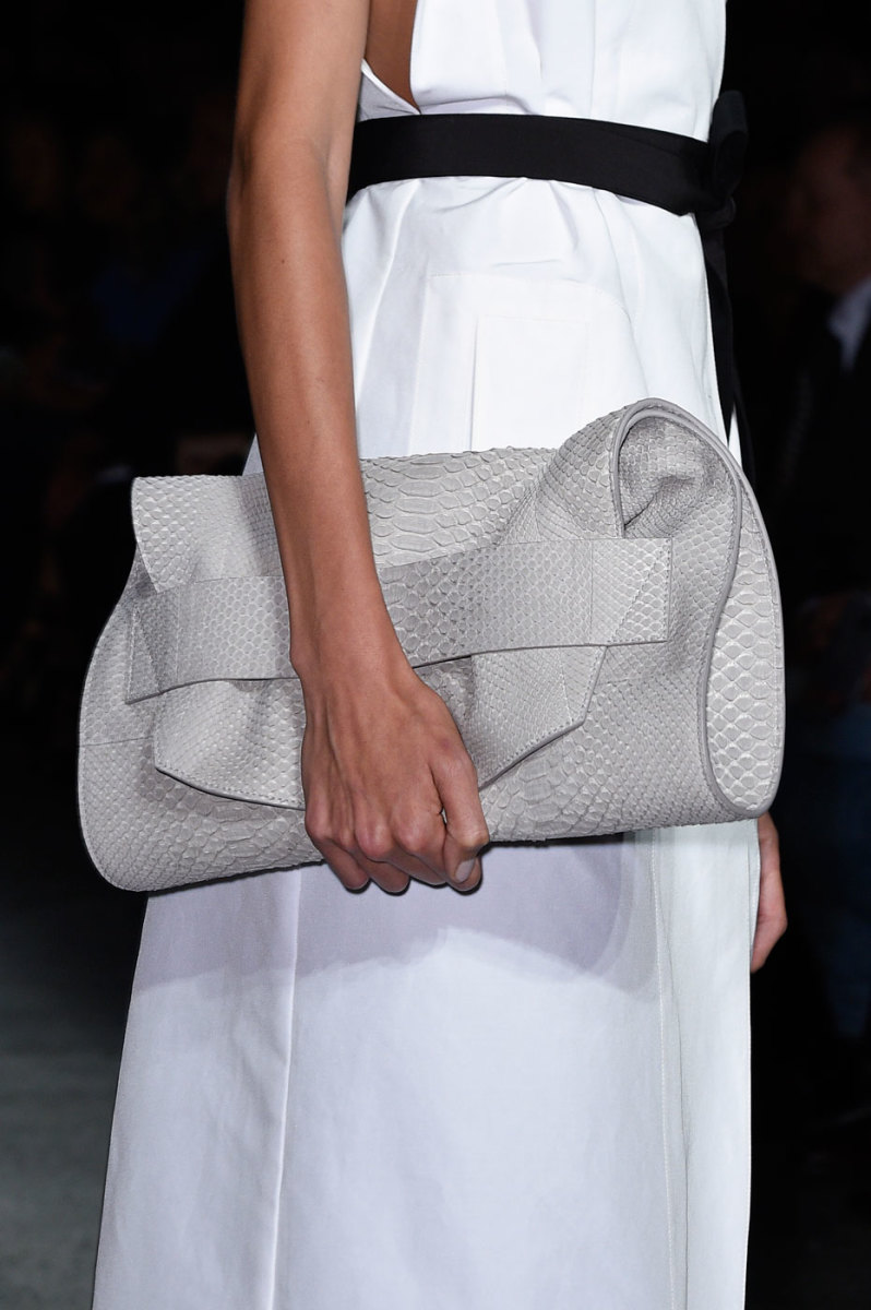 Narciso Rodriguez showed soft python clutches on the runway. Photo: Imaxtree