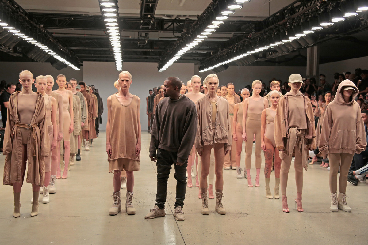 Kanye West during the finale of his Yeezy Season 2 show. Photo: Randy Brooke/Getty Images for Kanye West Yeezy