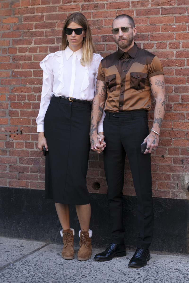 MyTheresa's Veronika Heilbrunner and Justin O'Shea. Photo: Emily Malan/Fashionista
