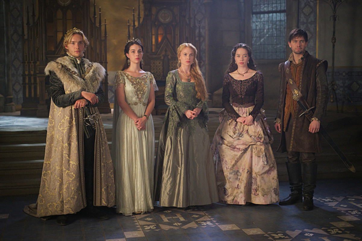 Queen Mary and her 16th century #squad on Reign. Toby Regbo as King Francis II, Adelaide Kane as Mary, Queen of Scotland and France, Celina Sinden as Greer, Anna Popplewell as Lola and Torrance Coombs as Bash. Photo: Sven Frenzel/The CW