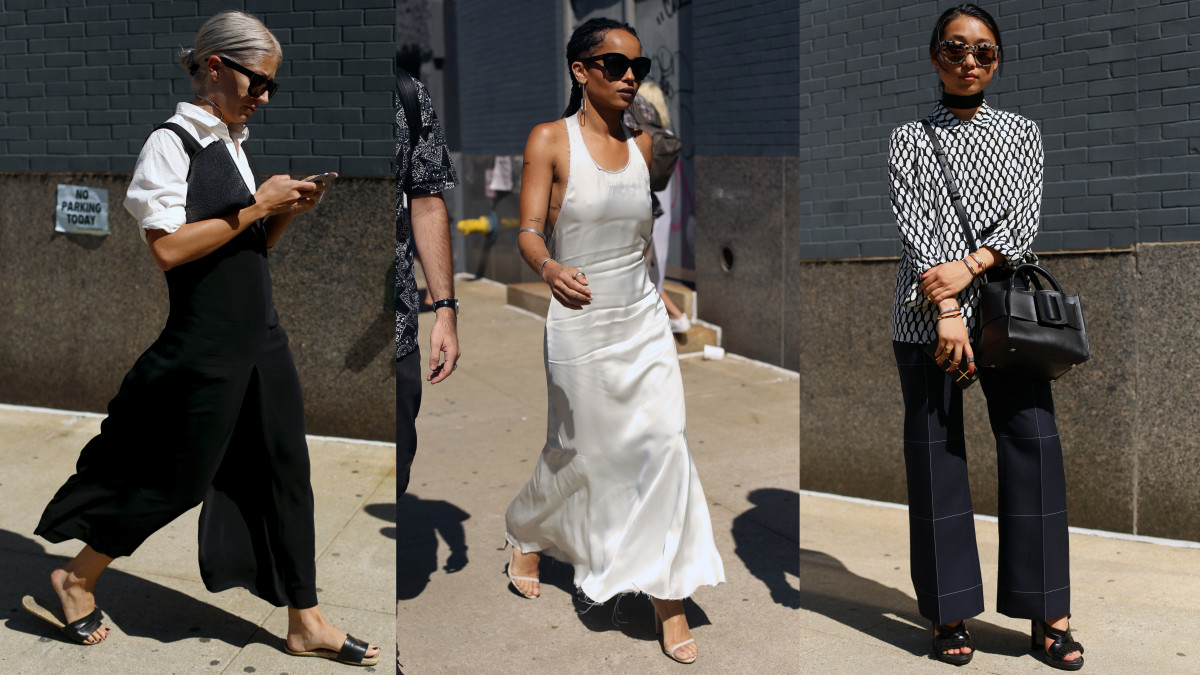 Sarah Harris, Zoe Kravitz and Margaret Zhang opt for black or white or both on the last day of fashion week. Photos: Angela Datre/Fashionista