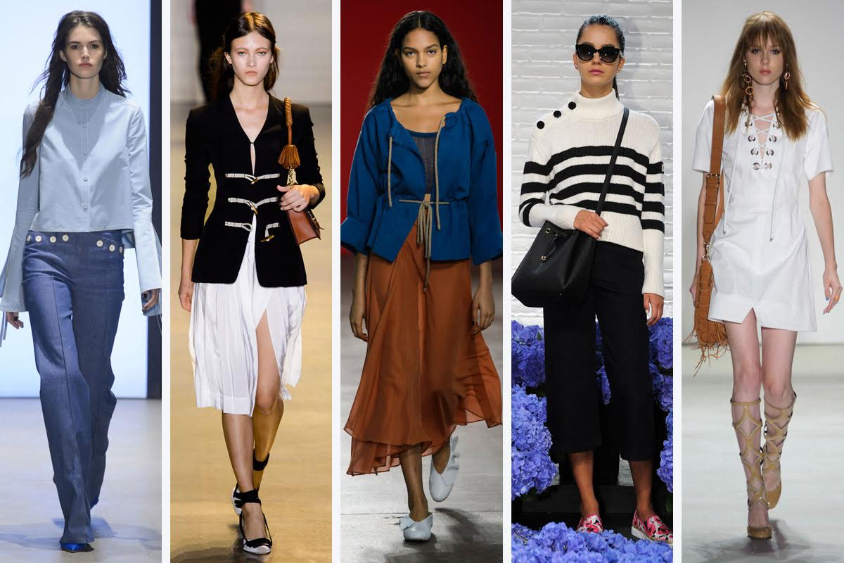 From left to right: Derek Lam, Altuzarra, Creatures of Comfort, Kate Spade New York and Rebecca Minkoff
