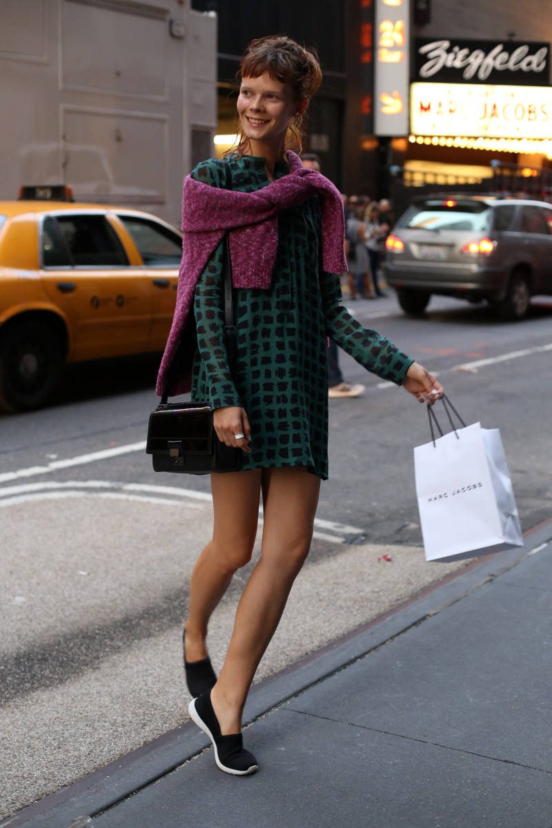 Model Irina Kravchenko outside the Marc Jacobs show. Photo: Angela Datre