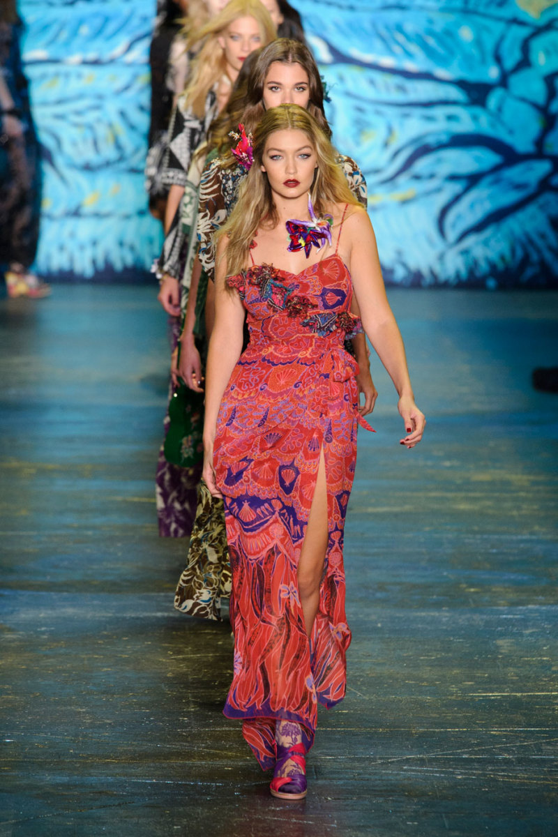 Gigi Hadid leading the finale of the Anna Sui spring 2016 show. Photo: Imaxtree