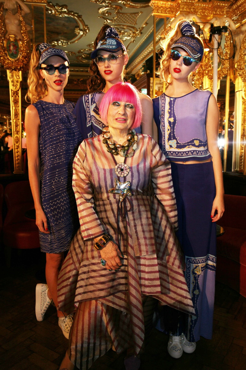 Zandra Rhodes's spring 2016 presentation. Photo: JACK TAYLOR/AFP/Getty Images