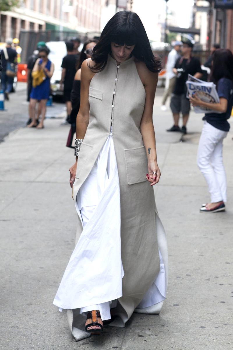 Athena Calderone in Rosie Assoulin. Photo: Emily Malan/Fashionista
