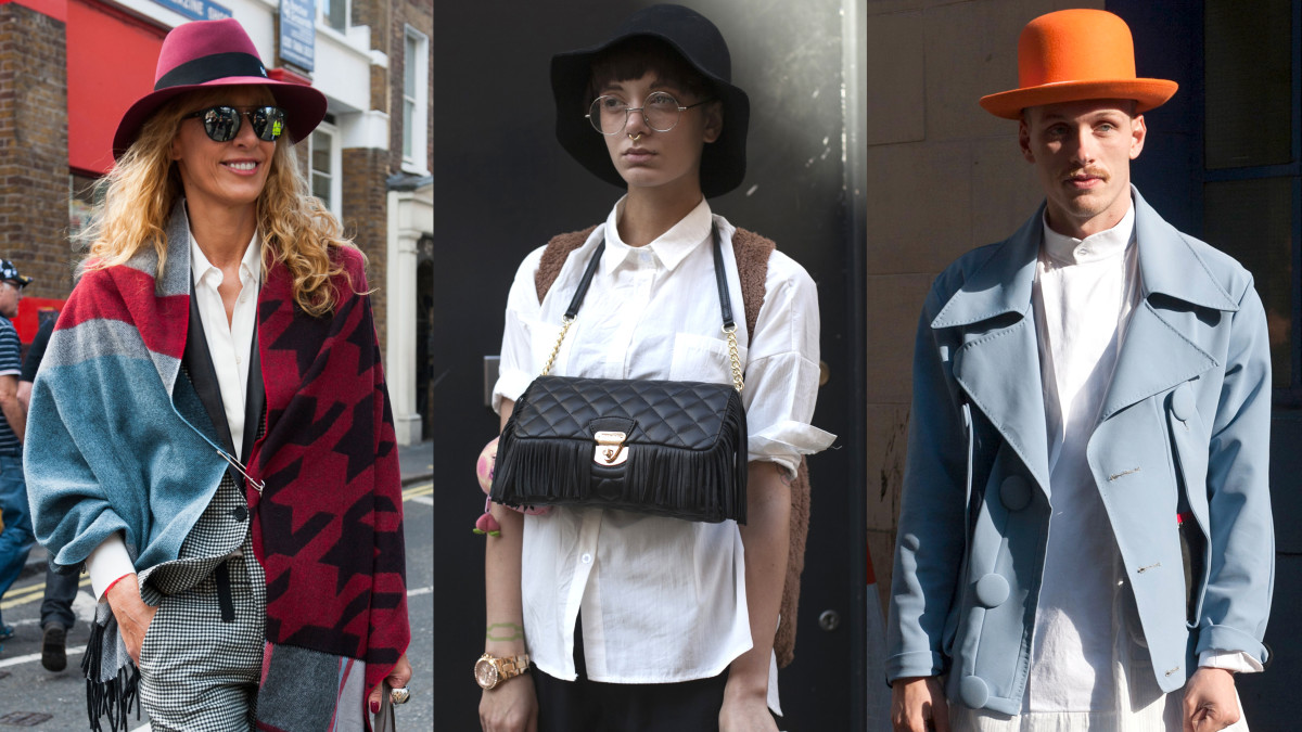 Stylish solar protection on the streets of London Fashion Week. Photos: Imaxtree (left and right), Emily Malan/Fashionista (center)
