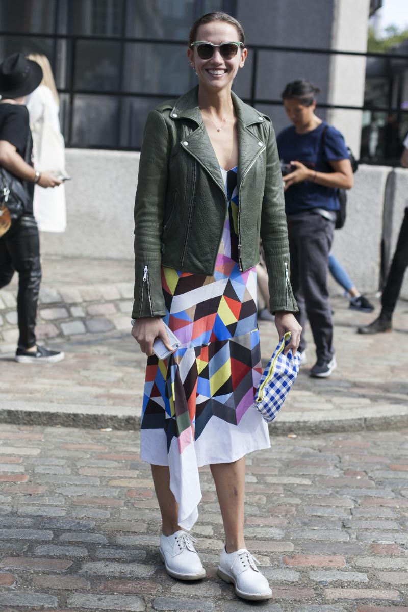 Stylist and writer Laurel Pantin in Prada sunglasses, Rebecca Minkoff jacket, Preen by Thornton Bregazzi dress and Purified shoes. Photo: Emily Malan/Fashionista