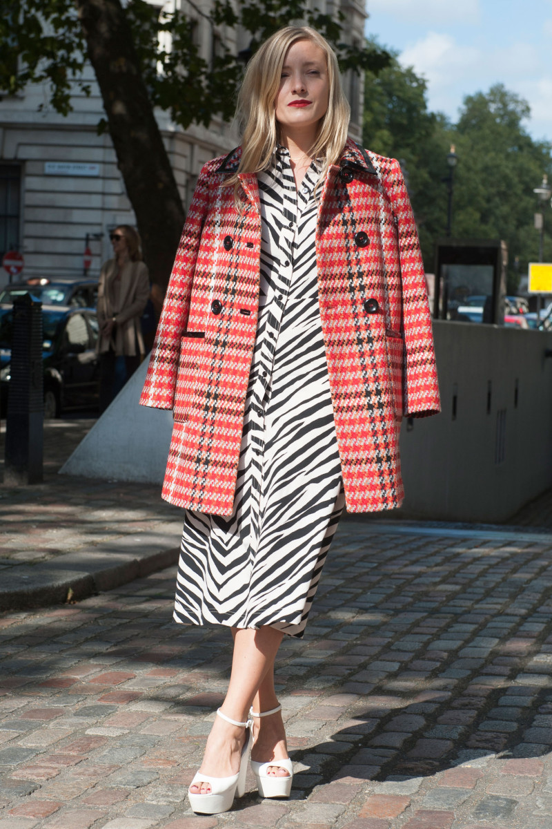 Kate Foley in a Miu Miu coat. Photo: Imaxtree