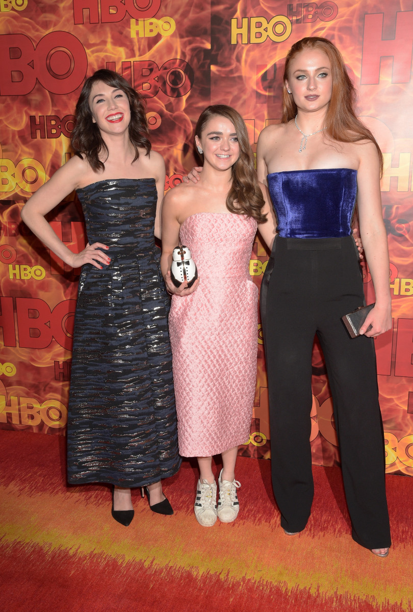 Sibel Kekilli, Maisie Williams and Sophie Turner at HBO's official 2015 Emmy after-party. Photo: Jason Kempin/Getty Images