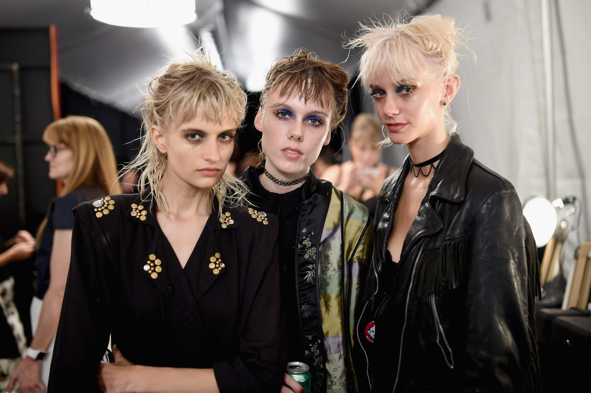 Veronika Vilim, left, backstage at Marc Jacobs. Photo: Jamie McCarthy/Getty Images