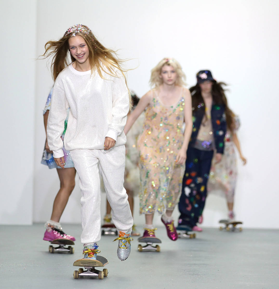 Models on skateboards at Ashish's spring 2016 presentation. Photo: Mike Marsland/Getty Images