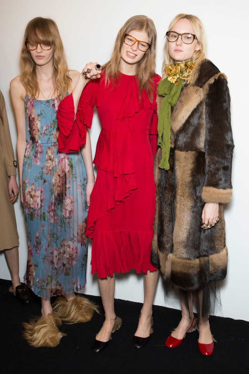 Backstage at Gucci's fall 2015 show. Photo: Imaxtree