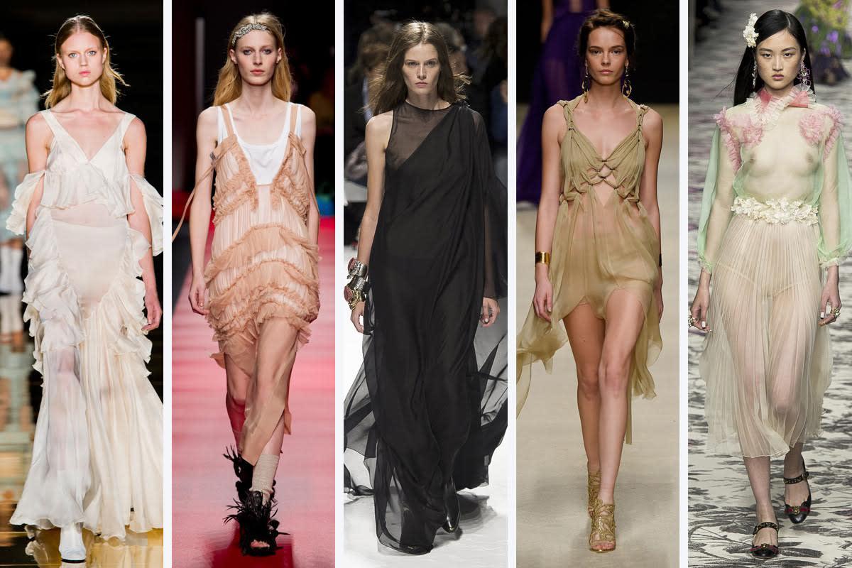 Left to right: Francesco Scognamiglio, No. 21, Fausto Puglisi, Alberta Ferretti, and Gucci. Photos: Imaxtree