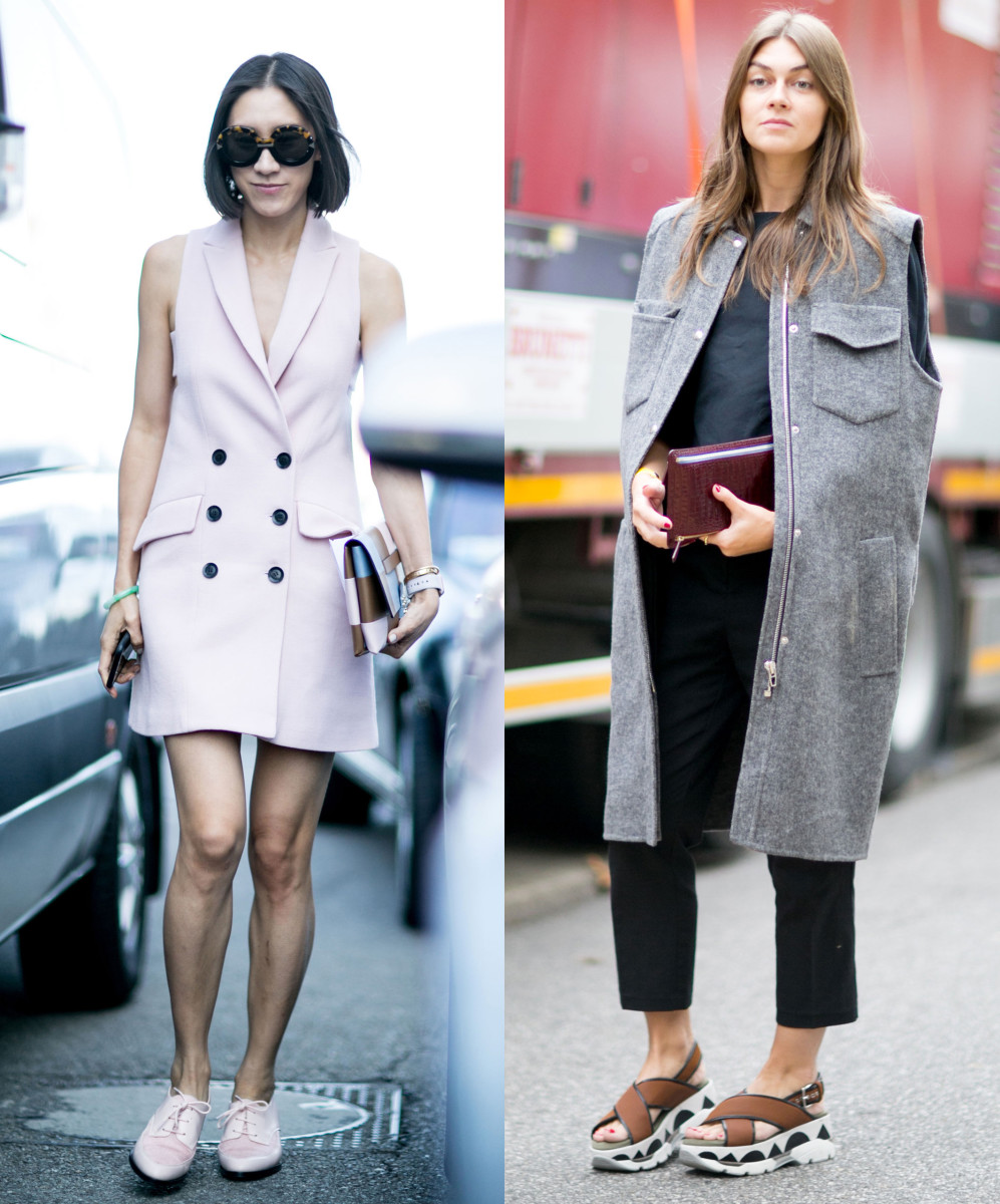Layer tip #3, sleeveless vests. Left: Instagram's Eva Chen in Marissa Webb vest, Banana Republic shoes, Valentino bag and Karen Walker sunglasses. Photos: Imaxtree