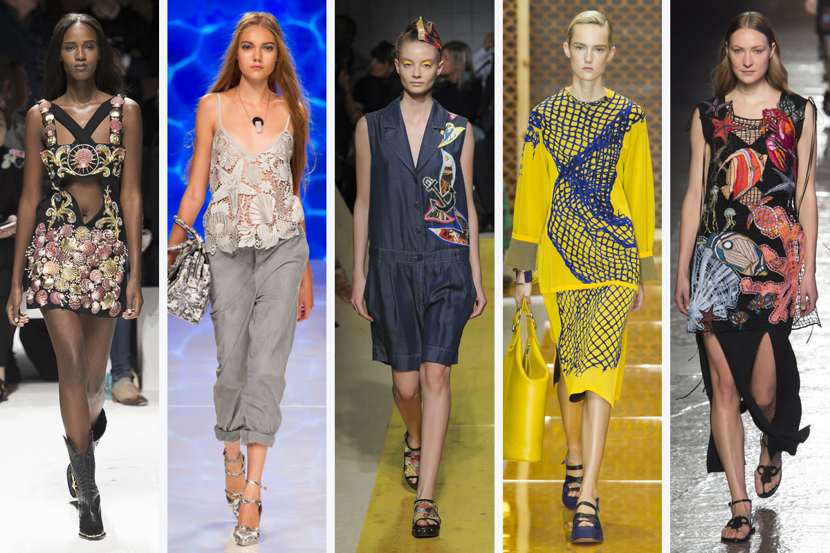 From left to right: Fausto Puglisi, Aigner, IM Isola Marras, Sportmax, and Emilio Pucci