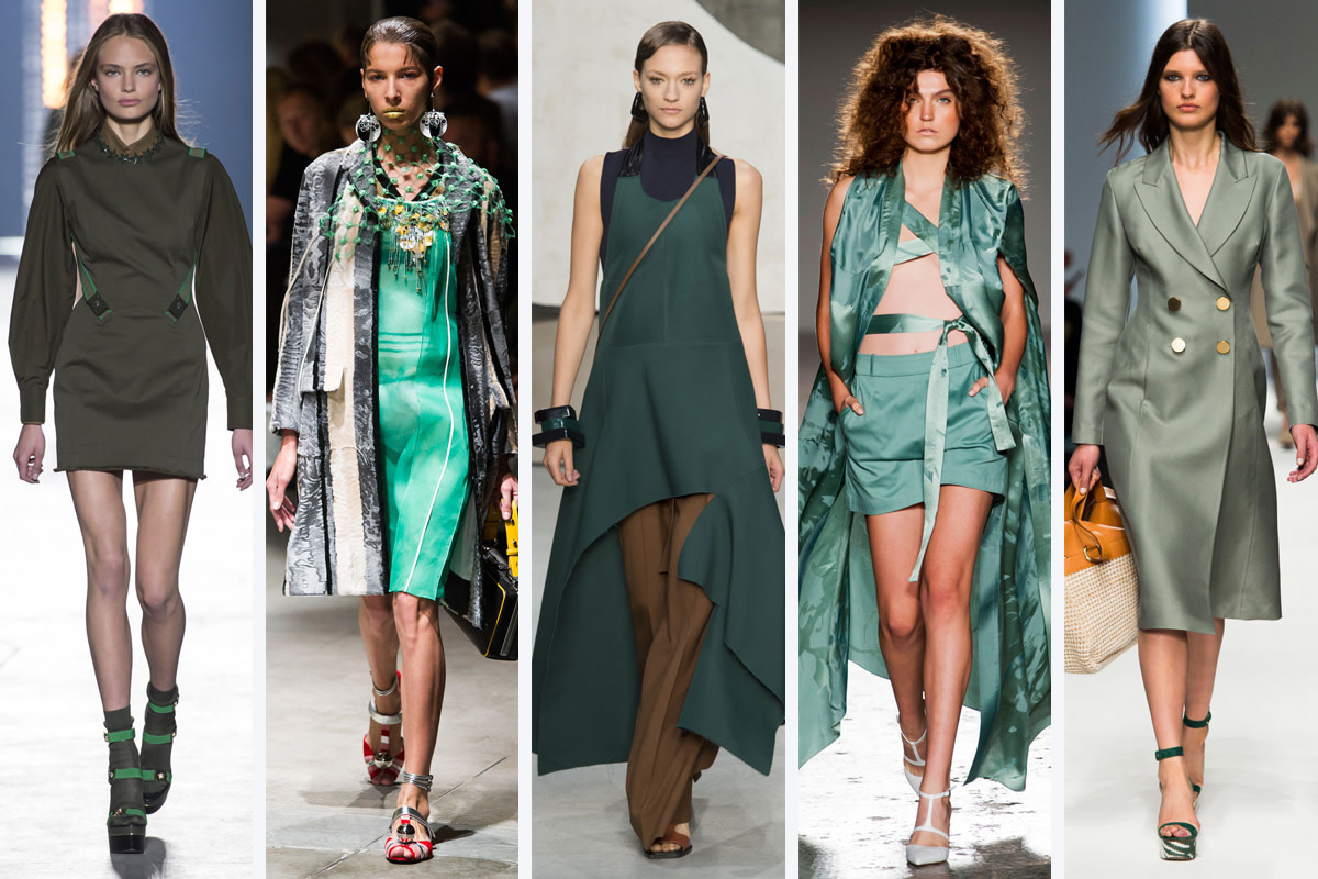 From left to right: Versace, Prada, Marni, Sergei Grinko, and Ermanno Scervino