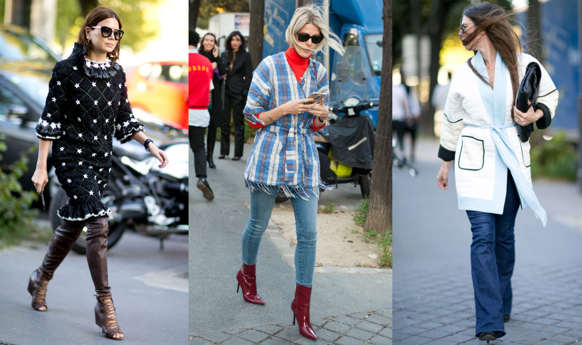Quilty cool tops on the street in Paris. Photos: Imaxtree, Emily Malan/Fashionista, Imaxtree