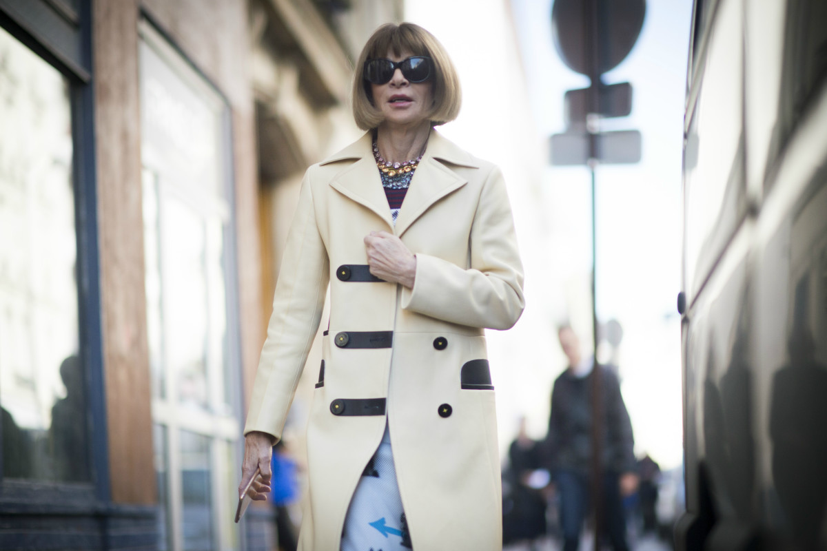 Anna Wintour during Paris Fashion Week's spring 2016 season. Photo: Timur Emek/Getty Images