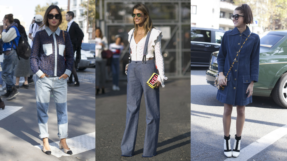 Sharp denim pieces on the streets of Paris. Photos: Emily Malan/Fashionista (left and right), Imaxtree (center)