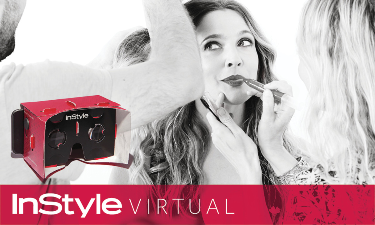 November cover star Drew Barrymore and the branded virtual reality viewers the magazine will be giving away for free. Photo: InStyle